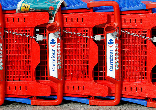 Logo de Carrefour en carritos de compra