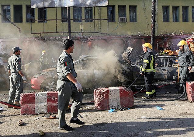 El lugar del atentado terrorista en Jalalabad (Afganistán)