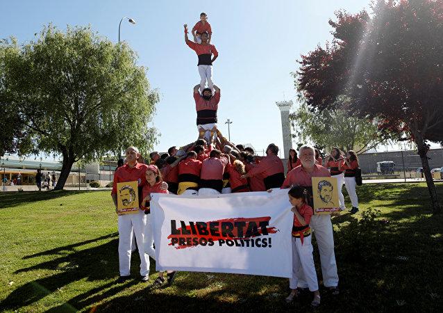 Los catalanes reclaman libertad para los presos políticos