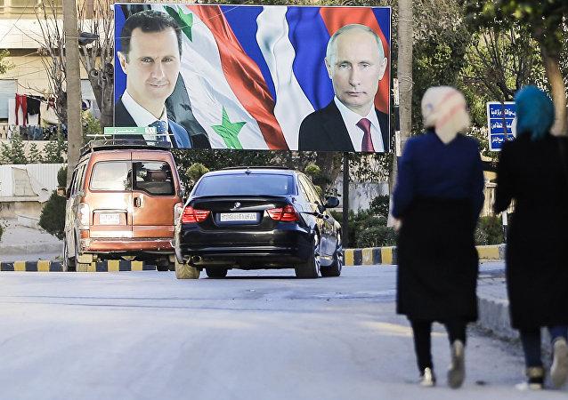 Los retratos de Bashar Asad y Vladímir Putin en Alepo, Siria