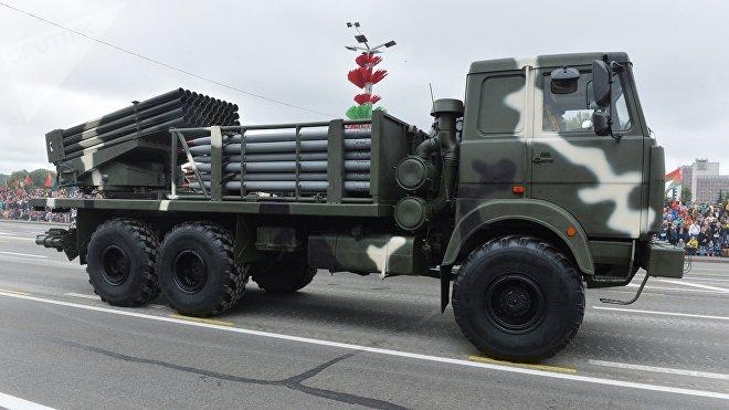 Lanzacohetes múltiple BelGrad durante el desfile militar para conmemorar el Día de la Independencia de Bielorrusia, Minsk, 3 e julio de 2018