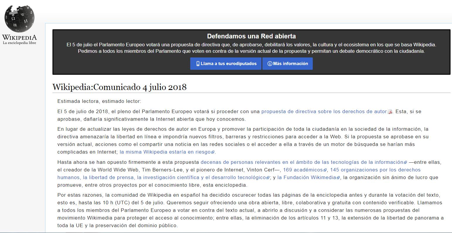 Comunicado oficial de Wikipedia contra la reforma de derechos de autor del Parlamento Europeo