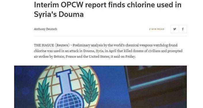 Artículo de Reuters, cuyo título afirmaba erróneamente que la OPAQ encontró cloro en las muestras recogidas en Duma