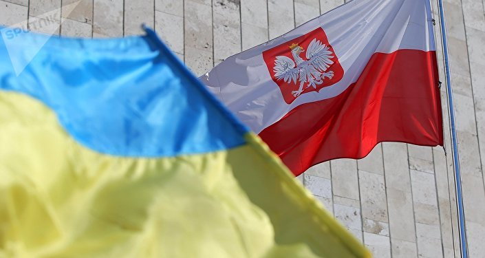 Banderas de Ucrania y Polonia