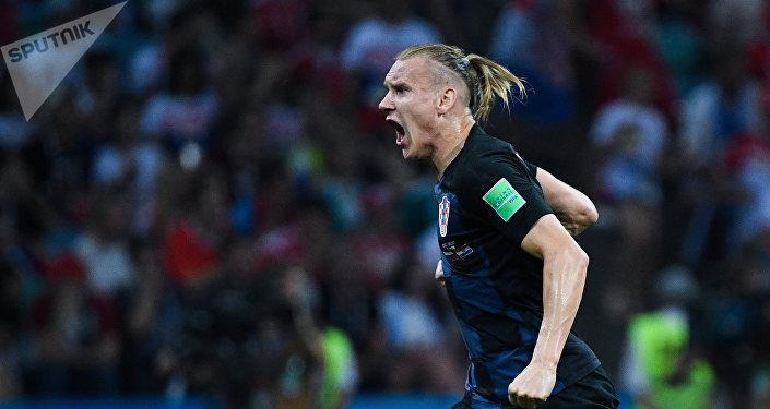Domagoj Vida (Croacia) tras un gol anotado en el partido de los 1/4 del final entre los equipos nacionales de Rusia y Croacia