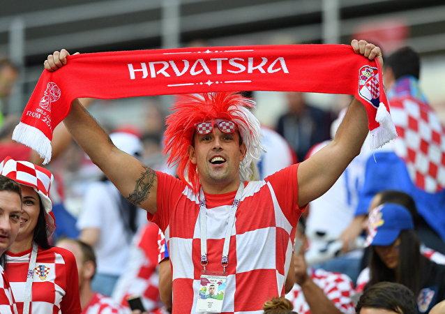 Un hincha de Croacia durante el Mundial de Rusia