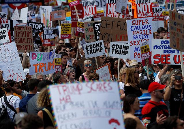 Manifestaciones de protesta contra la visita de Trump a Reino Unido