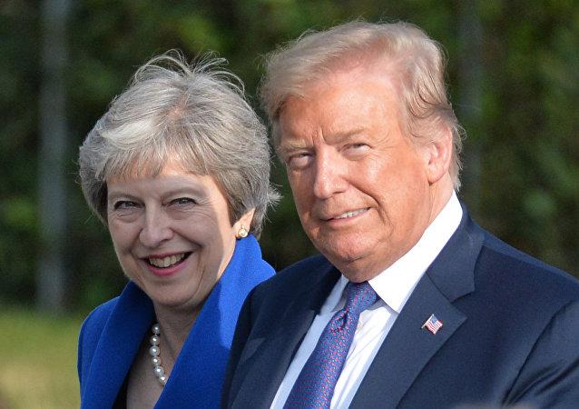 Primera ministra del Reino Unido, Theresa May, y presidente de EEUU, Donald Trump