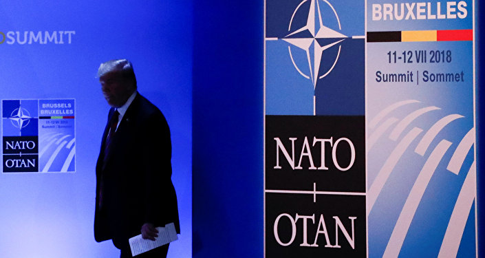 Presidente de EEUU, Donald Trump, durante la cumbre de la OTAN