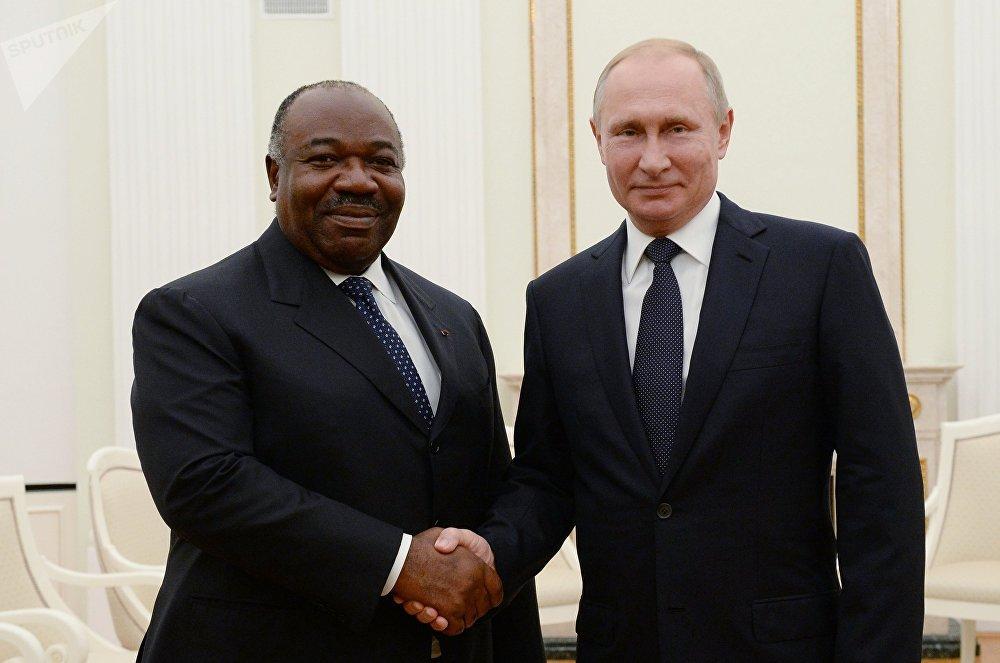 Presidente de Gabón, Ali Bongo Ondimba, y presidente de Rusia, Vladímir Putin