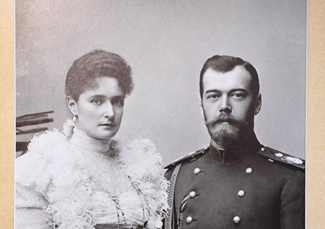 Zar Nicolás II con su esposa, Alexandra Fiódorovna