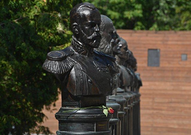 Un monumento de Nicolás II, el último tsar ruso