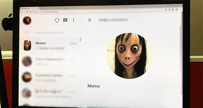 Cuenta de 'Momo' en la aplicación de mensajería instantánea WhatsApp