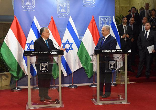 Primer ministro de Hungría, Viktor Orbán y primer ministro de Israel, Benjamín Netanyahu