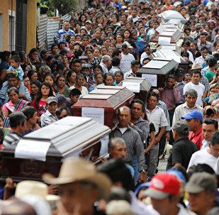 Víctimas de la erupción del Volcán de Fuego en Guatemala