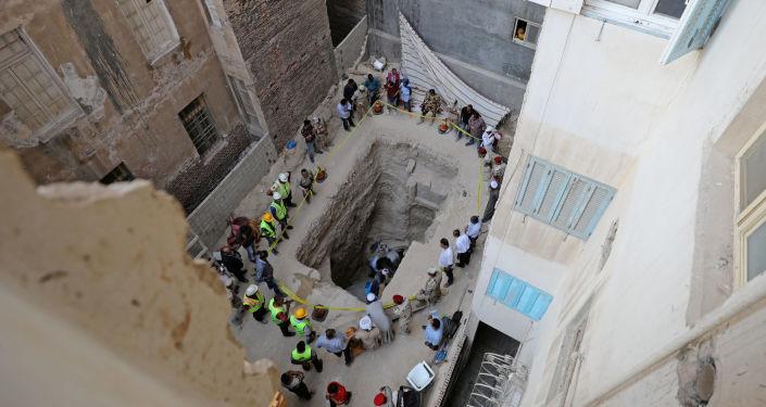 Lugar en el que se halló el sarcófago negro de Alejandría