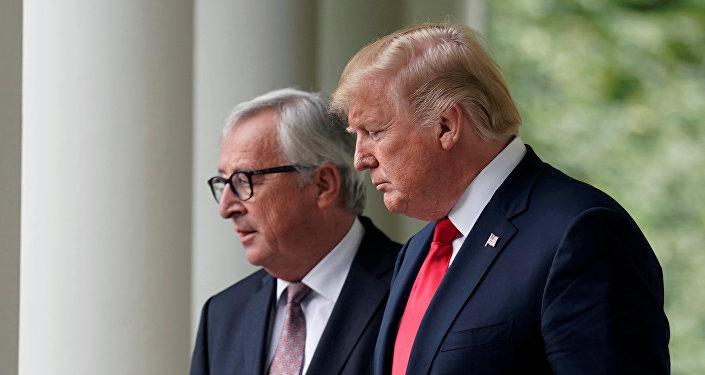 El presidente de la Comisión Europea, Jean-Claude Juncker y el presidente de EEUU, Donald Trump
