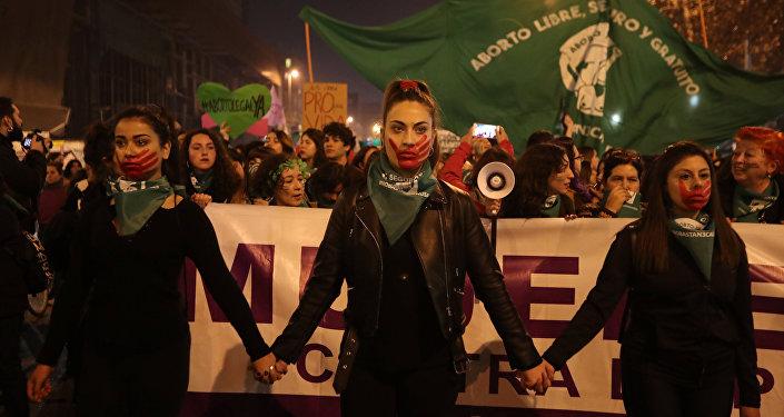 Marcha por aborto libre en Santiago, Chile