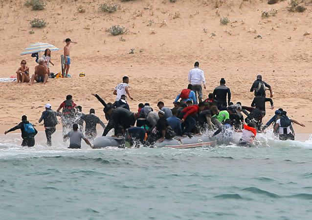 Migrantes rescatados en el Estrecho de Gibraltar