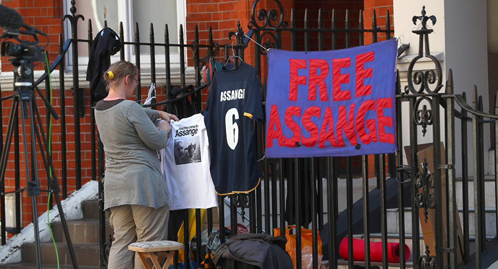 La embajada de Ecuador en el Reino Unido donde se encuentra Julian Assange