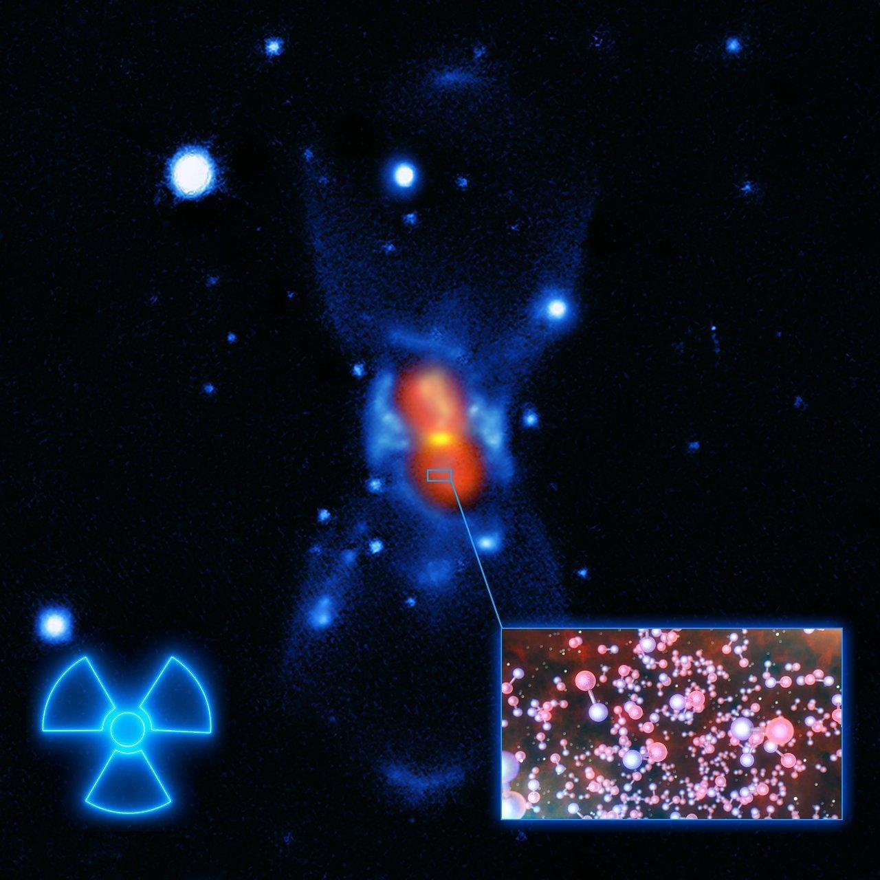 Imagen artística de las moléculas radiactivas en CK Vulpeculae