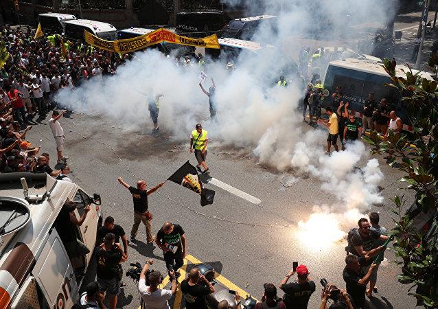 Huelga de taxistas en Barcelona, España