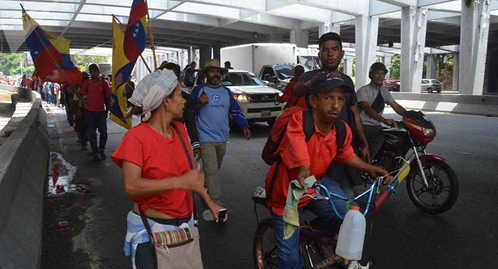 Movimiento campesino venezolano llegando a Caracas, Venezuela