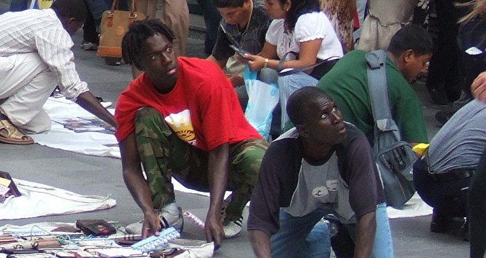 Manteros en Madrid, foto de archivo