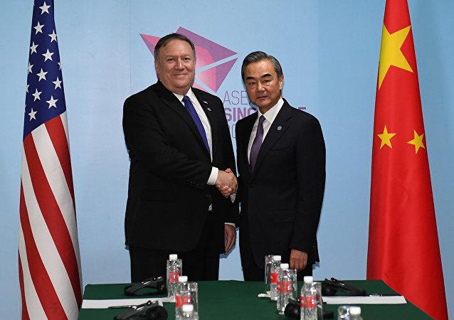 Wang Yi, canciller de China y Mike Pompeo, secretario de Estado de EEUU