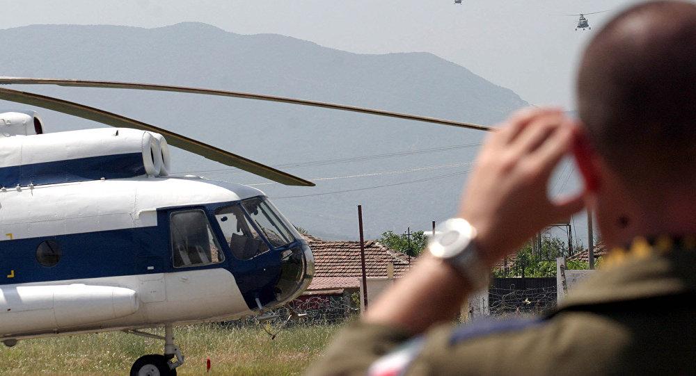 Un ejercicio militar conjunto que incluye a Italia, Grecia, Macedonia y las Fuerzas Aéreas de la OTAN en una base militar en Farke, Albania