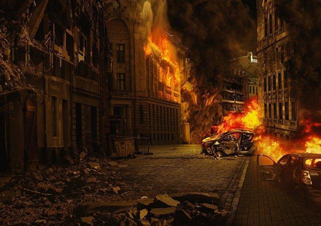 Una ciudad en llamas (imagen referencial)