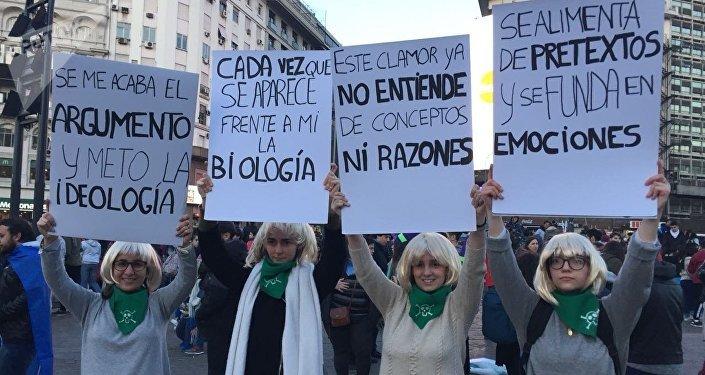 Manifestantes anti abortistas en Buenos Aires, Argentina