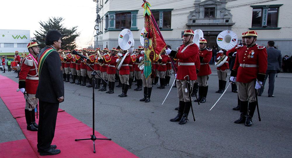 Evo Morales, presidente de Bolivia, da un mensaje durante las celebraciones de la independencia de Bolivia