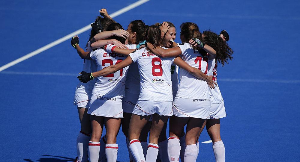 El equipo nacional de hockey césped femenino de España durante el Campeonato Mundial