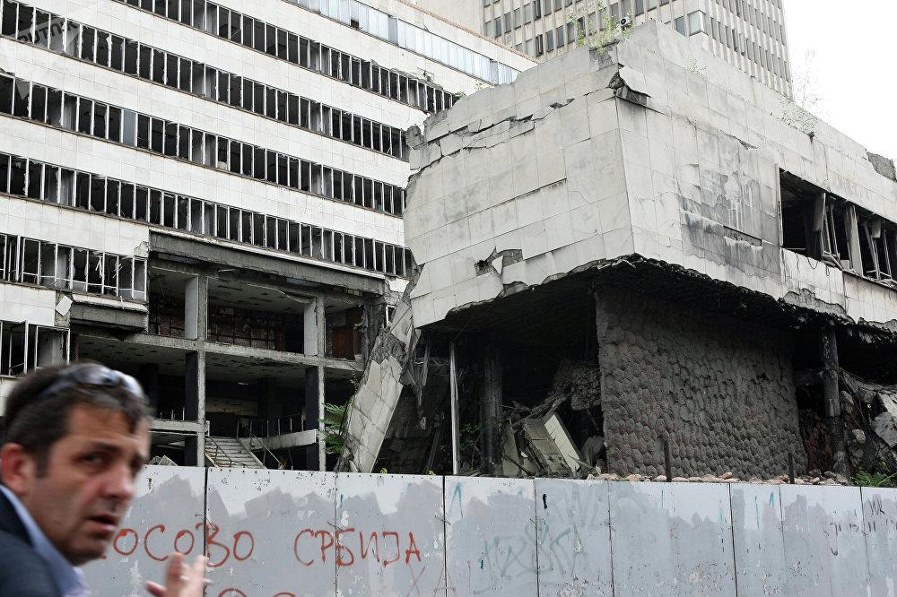 Zerstörungen nach dem NATO-Luftangriff in Belgrad 1999