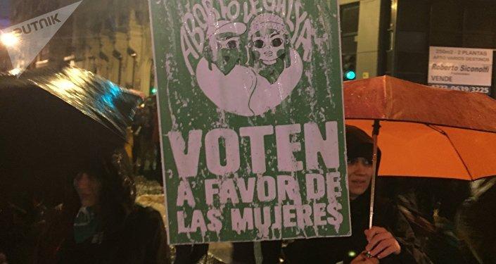 Carteles a favor de la despenalización del aborto en Argentina