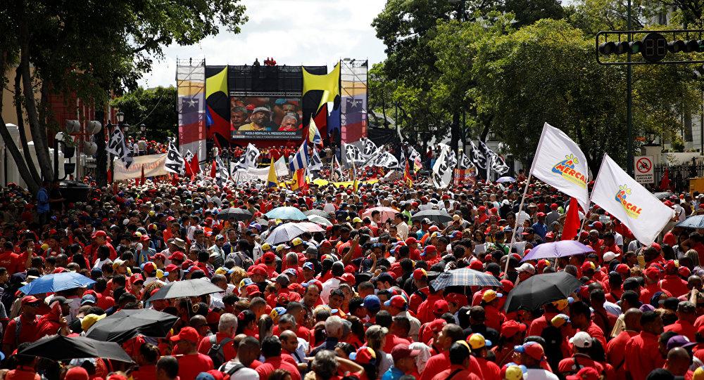 Una manifestación en apoyo al presidente de Venezuela, Nicolás Maduro