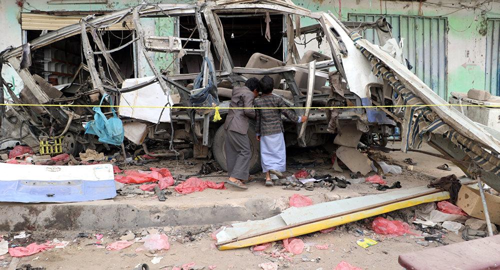 Lugar del ataque perpetrado contra un autobús escolar en Yemen