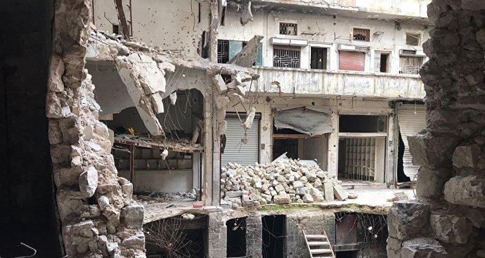 Ruinas de la ciudad de Alepo, Siria