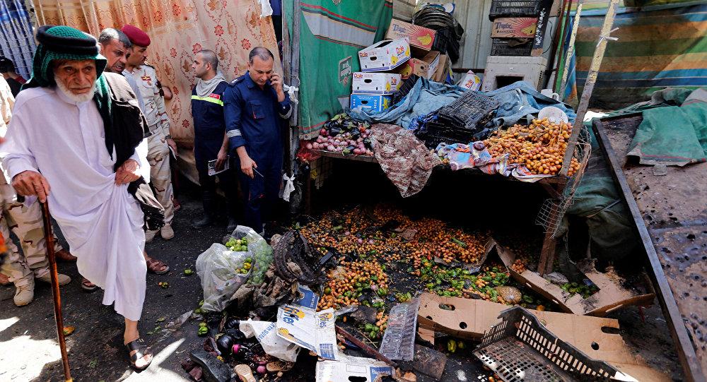 Situación en el mercado cerca de Bagdad donde tuvo lugar la explosión