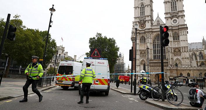 Los agentes de policía frente al Parlamento en Westminster, Londres.