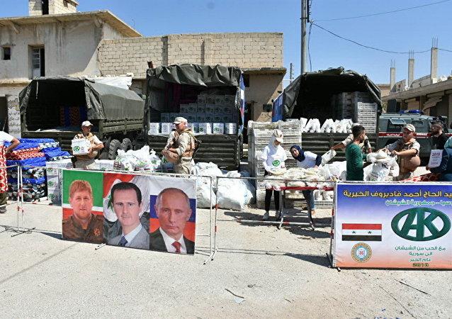 Punto de entrega de ayuda humanitaria de la Fundación Pública Local Ajmat Kadírov en Alepo