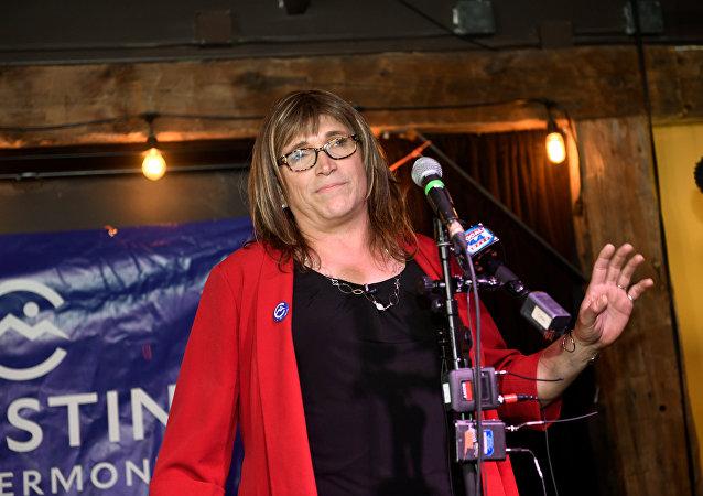 Christine Hallquist, candidata para gobernadora del estado de Vermont por el Partido Demócrata