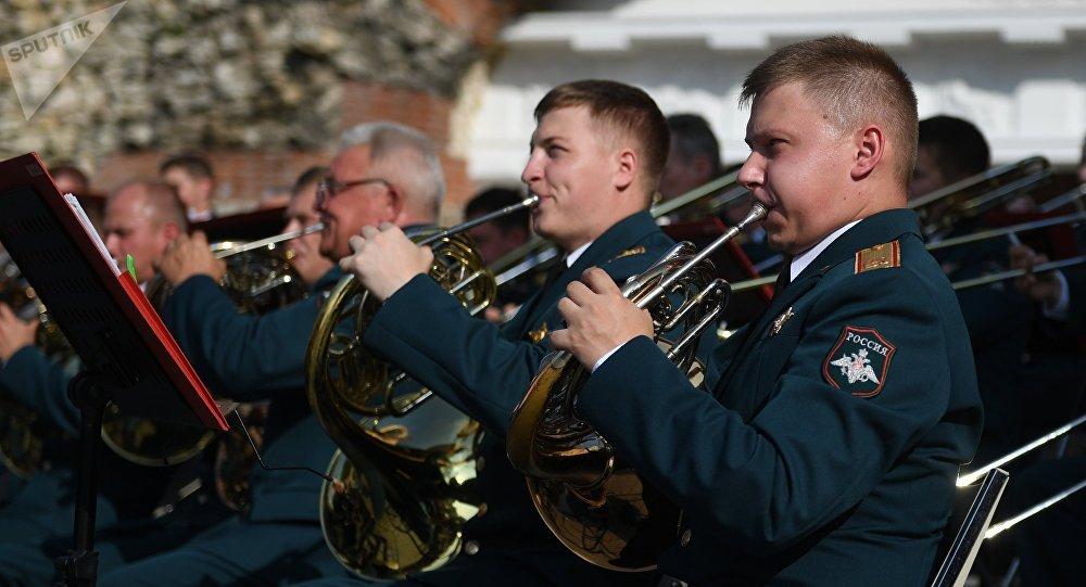 Músicos de la Orquesta Militar Central del Ministerio de Defensa de Rusia (archivo)