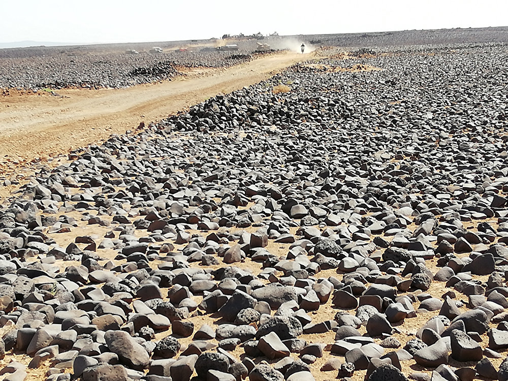 La roca volcánica en el desierto de la provincia siria de Al Suwaida