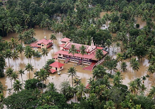 Zona inundada en Kerala, la India