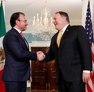 El secretario de Relaciones Exteriores de México, Luis Videgaray, y el jefe de la diplomacia de EEUU, Mike Pompeo