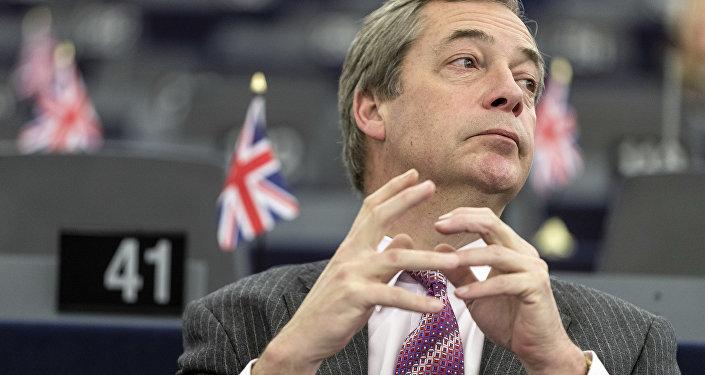 Nigel Farage, líder del Partido del Brexit, (archivo)
