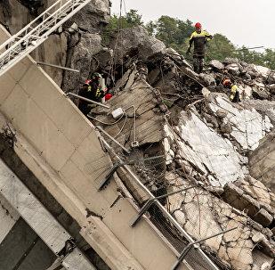 El lugar de la tragedia del puente en Génova (archivo)