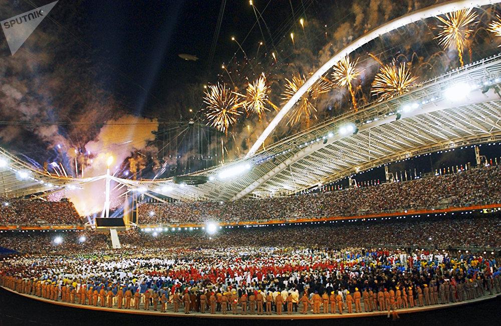 La ceremonia de inauguración de los Juegos Olímpicos de 2004 en Atenas